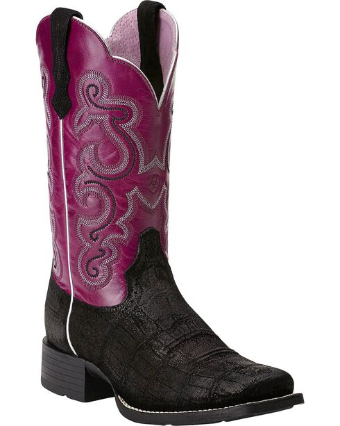 Ariat Quickdraw Gator Print Cowgirl Boots - Square Toe, , hi-res