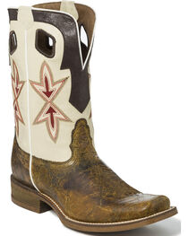 Nocona Men's Two Tone Overlay Cowboy Boots - Square Toe, , hi-res