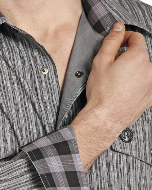 Panhandle Men's Grey Striped Pattern Western Shirt , Grey, hi-res