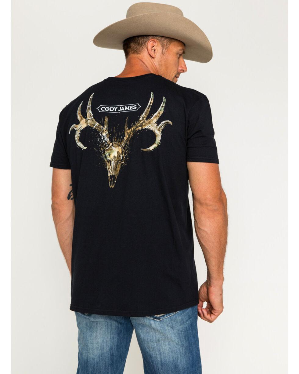 Cody James Men's Camo Deer Skull Tee, Black, hi-res