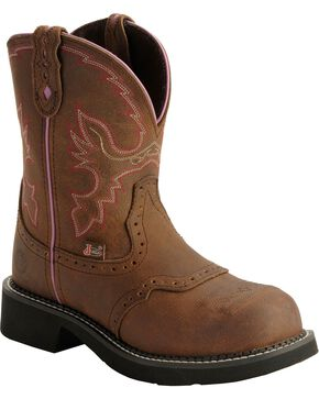 Justin Gypsy Work Boots - Round Steel Toe, Aged Bark, hi-res