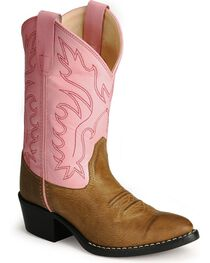 Old West Girls' Pink Corona Calfskin Cowgirl Boots, , hi-res