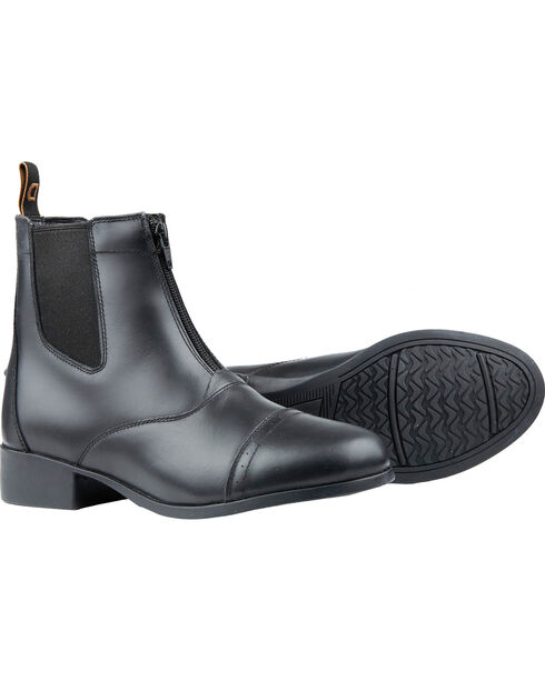Dublin Foundation Zip Paddock Black Equestrian Boots, Black, hi-res