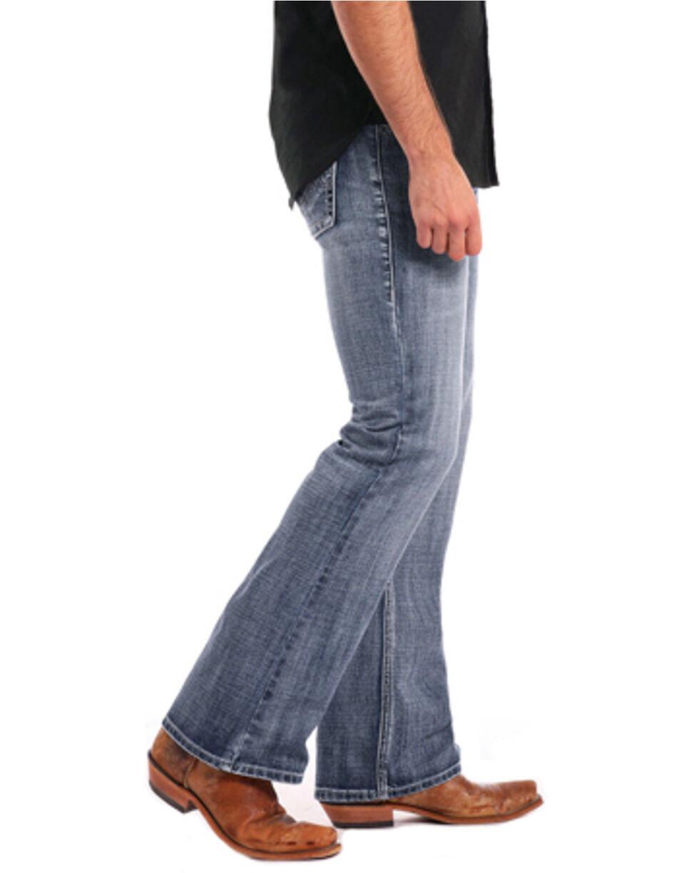 Rock & Roll Cowboy Men's Pistol Large Double V Embroidered Boot Cut Jeans, Blue, hi-res