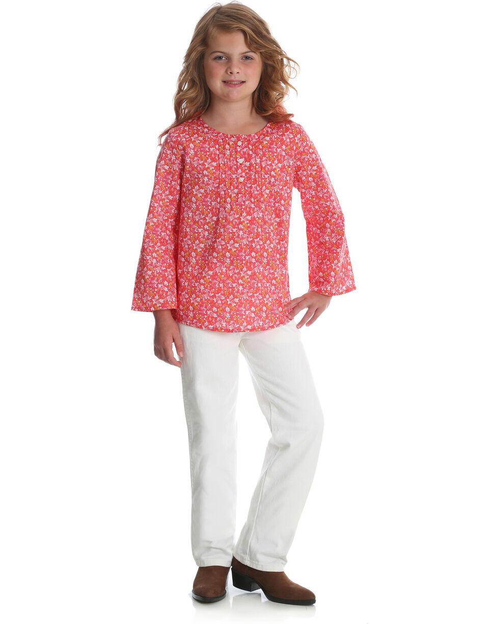 Wrangler Girls' Pink Bell Sleeve Pintuck Top , Pink, hi-res