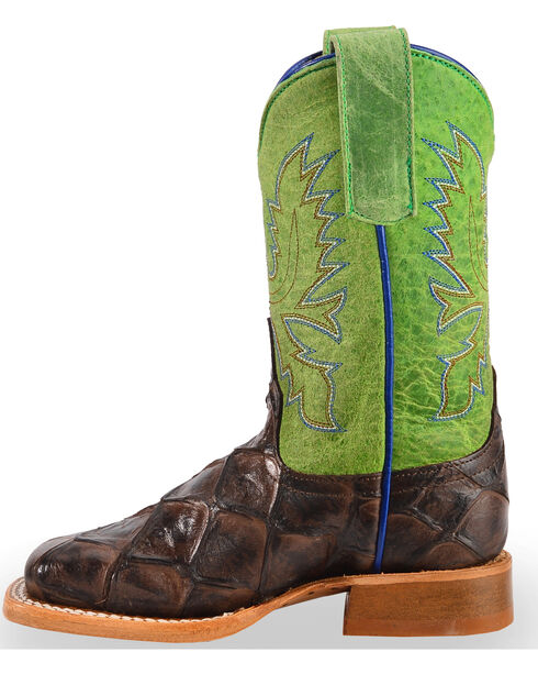 Anderson Bean Youth Boys' Brown Filet Of Fish Print Boots - Square Toe, Cognac, hi-res