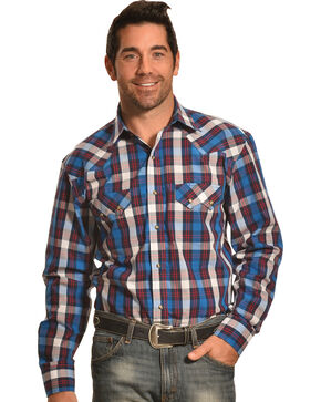 Crazy Cowboy Blue Plaid Western Sawtooth Snap Shirt, Blue, hi-res