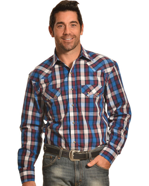 Crazy Cowboy Blue Plaid Western Sawtooth Snap Shirt, Blue, hi-res