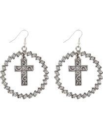 Shyanne® Women's Rhinestone Cross Hoop Earrings, , hi-res