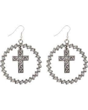 Shyanne® Women's Rhinestone Cross Hoop Earrings, Silver, hi-res