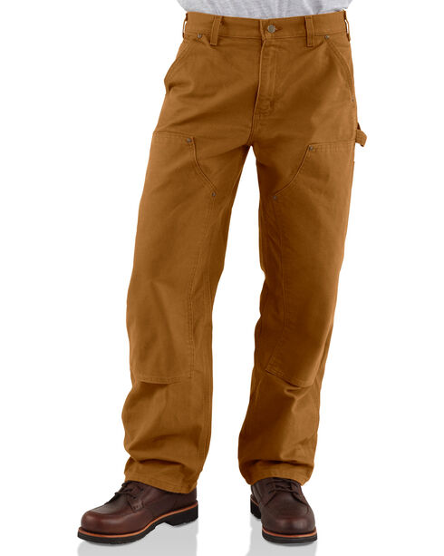 Carhartt Men's Double Front Washed Dungaree work Pants, Brown, hi-res