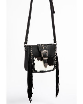 Shyanne Women's Fur and Fringe Crossbody Bag, Black, hi-res