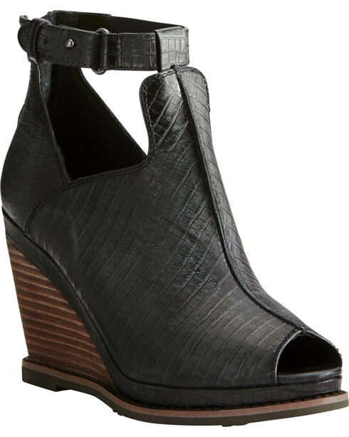 Ariat Women's Black Lizard Print Backstage Peep-Toe Wedges, Black, hi-res