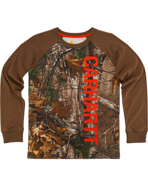 Carhartt Boys' Camo Long Sleeve Shirt, Camouflage, hi-res