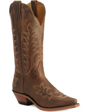 Boulet Fancy Stitched Vamp & Shaft Cowgirl Boots - Snip Toe, Tobacco, hi-res