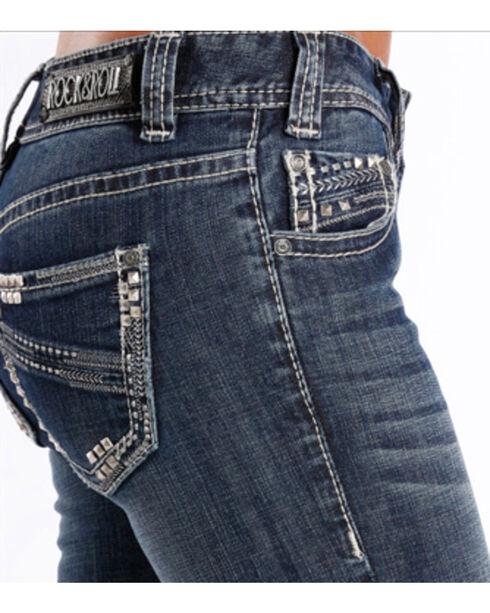 Rock & Roll Cowgirl Women's Medium Wash Low Rise Boot Cut Jean, Indigo, hi-res