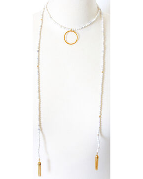 Everlasting Joy Santa Fe Lariat in Howlite, White, hi-res