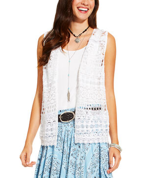 Ariat Women's Lace Open Front Vest, White, hi-res