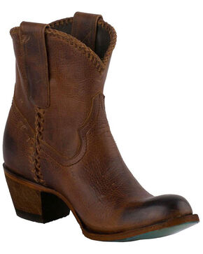 Lane Women's Plain Jane Cognac Ankle Boots - Round Toe, Honey, hi-res