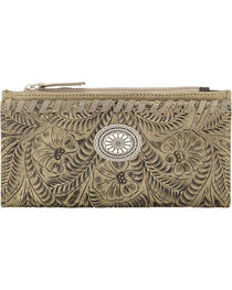 American West Women's Sand Tooled Foldover Snap Closure Wallet , , hi-res