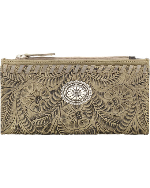 American West Women's Sand Tooled Foldover Snap Closure Wallet , Sand, hi-res