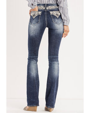 Miss Me Women's Indigo Floral Expression Jeans - Boot Cut , Indigo, hi-res