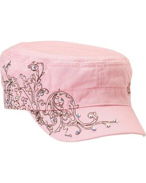 Blazin Roxx Embellished Turquoise Scroll Stitched Cap, Pink, hi-res