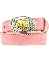 Nocona Girl's Tooled Floral Leather Western Belt, , hi-res