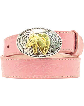 Nocona Girl's Tooled Floral Leather Western Belt, Assorted, hi-res