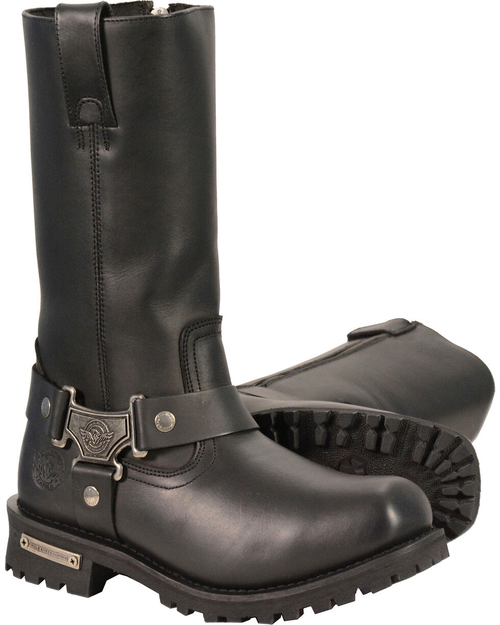 """Milwaukee Leather Men's Black 11"""" Waterproof Harness Boots - Square Toe , Black, hi-res"""