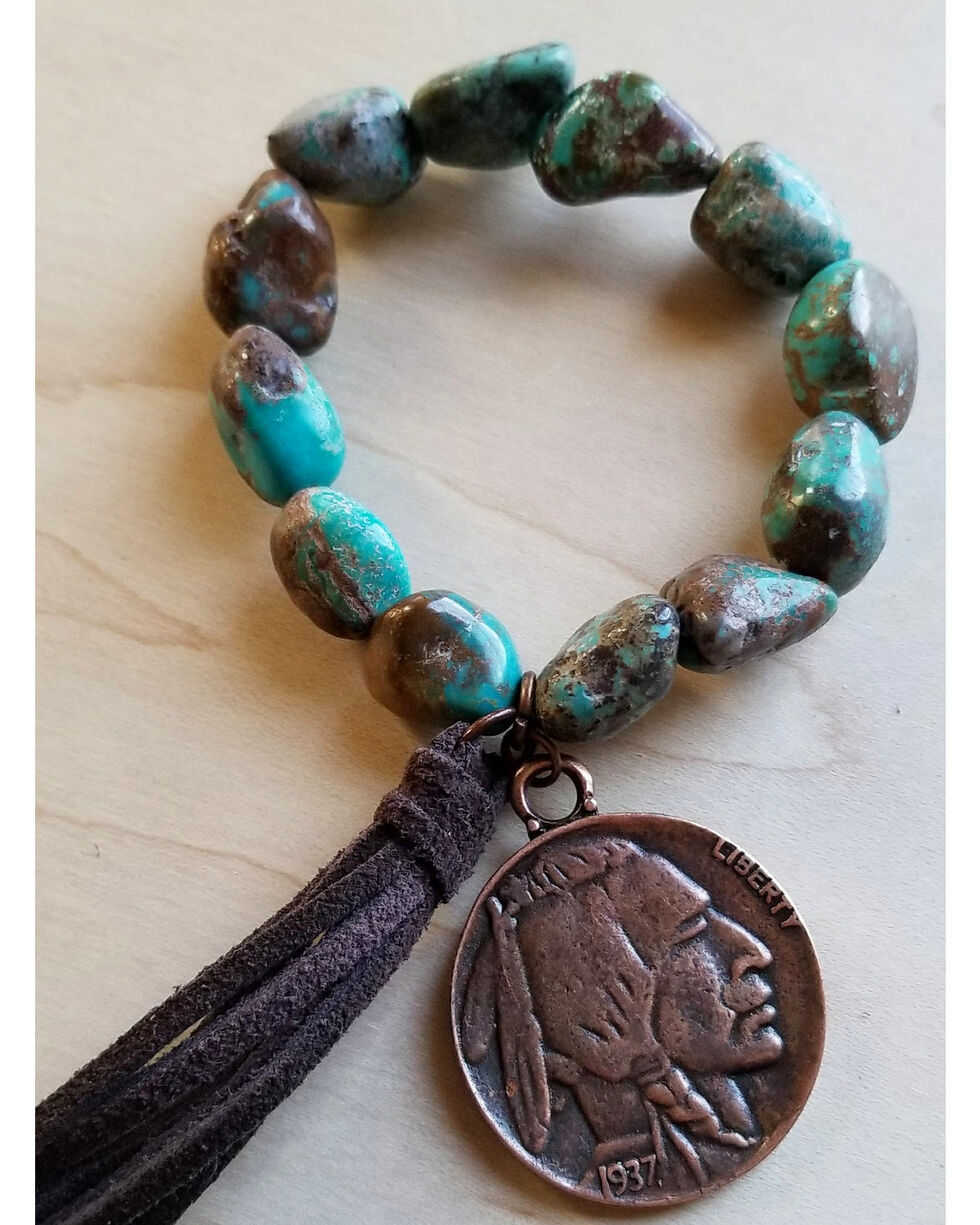 Jewelry Junkie Women's African Turquoise Indian Head Coin Bracelet , Green, hi-res
