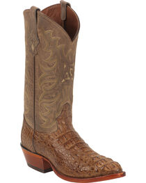 Tony Lama Gold and Tan Vintage Exotics Hornback Caiman Cowboy Boots - Round Toe , , hi-res