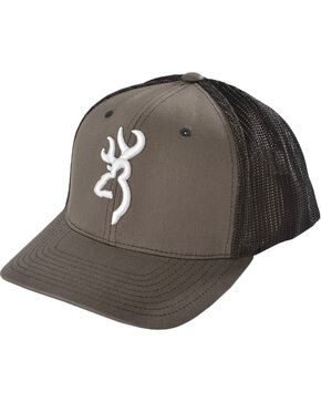 Browning Charcoal Grey Buckmark Flex Fit Cap - S/M, Charcoal Grey, hi-res