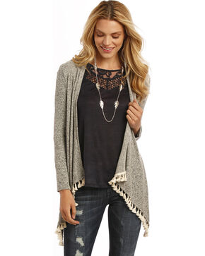 Rock & Roll Cowgirl Women's Tassel Trimmed Cardigan, Multi, hi-res