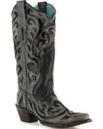 Corral Women's Laser Cut Sequin Inlay Snip Toe Boots, , hi-res