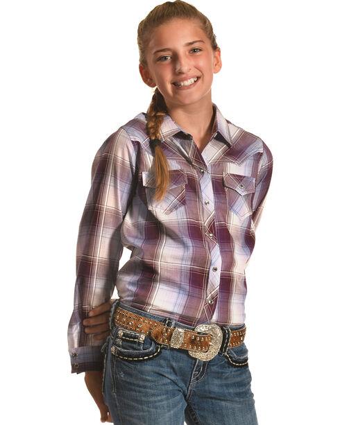 Ely Cattleman Girls' Plum Fancy Yoke Plaid Shirt , Purple, hi-res