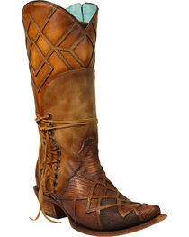 Corral Women's Lizard Laser Overlay Cowgirl Boots - Snip Toe, , hi-res