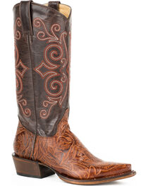 Roper Women's Leather Toolin' Snip Western Boots, Brown, hi-res