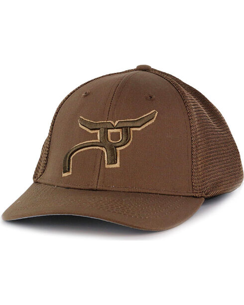RopeSmart Men's Logo Snap-Back Trucker Hat, Brown, hi-res