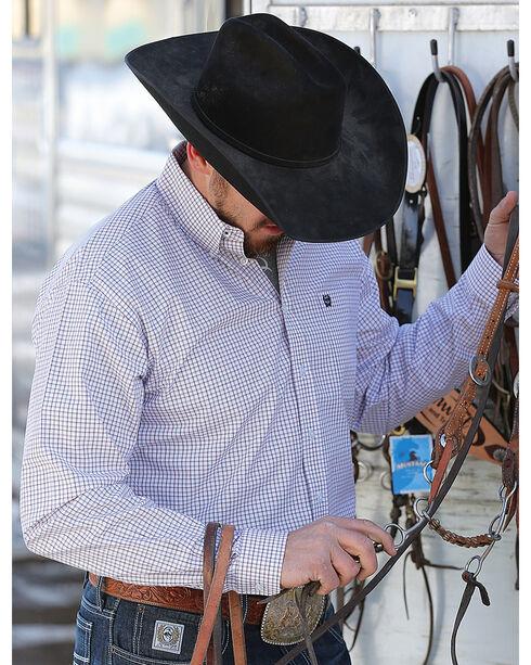Cinch Men's White Long Sleeve Print Western Shirt , White, hi-res