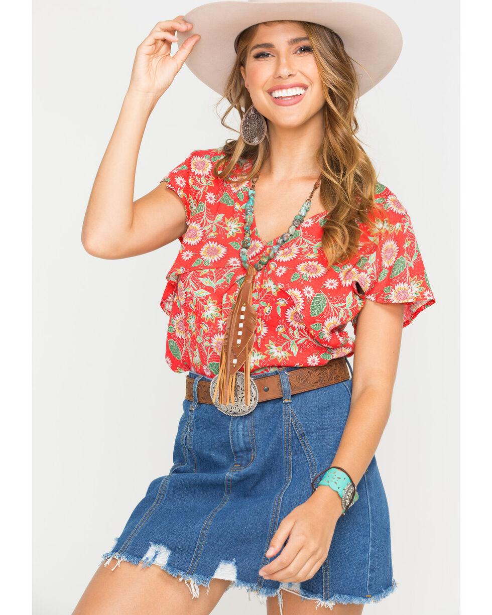 Miss Me Women's Red Short Sleeve V-neck Floral Top, Red, hi-res