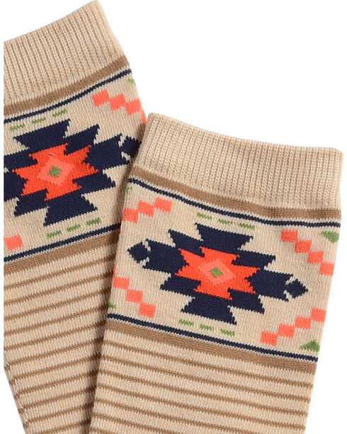 Catawba Women's Aztec Striped Knee-High Socks, Oatmeal, hi-res