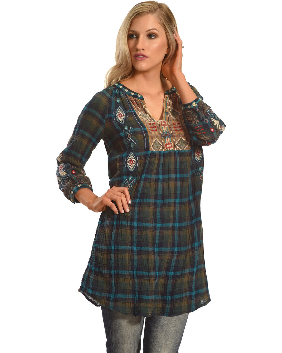 Johnny Was Women's Austin Velvet Mix Jasmine Plaid Tunic, Multi, hi-res