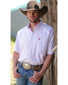 Cinch Men's Grid Plaid Printed Short Sleeve Shirt, White, hi-res