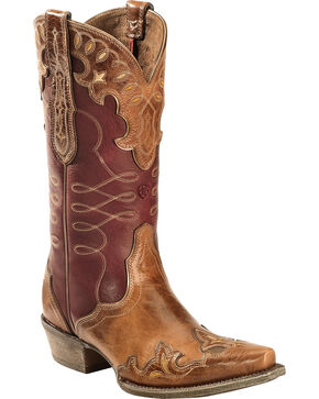 Ariat Women's Zealous Snip Toe Western Boots, Brown, hi-res