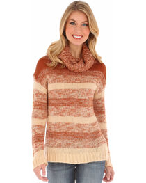Wrangler Women's Camel Ombre Cowl Neck Sweater , , hi-res