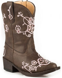 Roper Toddler Girls' Brown Flower Sparkles Western Boots - Pointed Toe , , hi-res