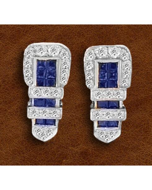 Kelly Herd Sterling Silver Rhinestone Encrusted Buckle Earrings, Silver, hi-res