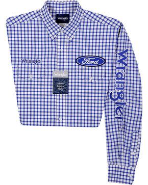 Wrangler Men's Ford Logo Long Sleeve Shirt, Blue, hi-res