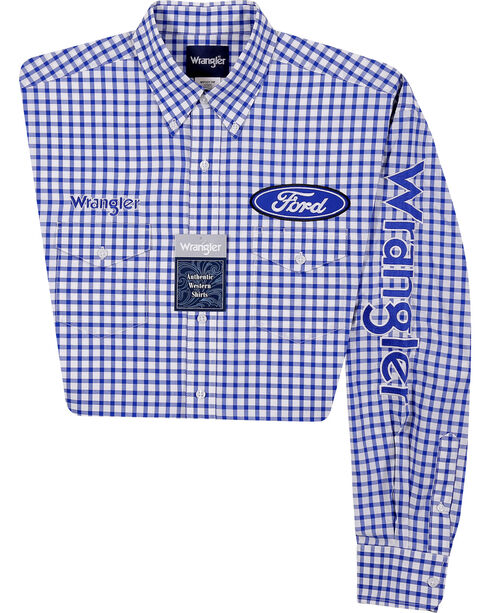 Wrangler Men's Ford Logo Long Sleeve Shirt, Blue, hi-res